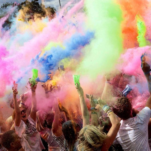 AUGUST 26: People throw colored powder into the air during the Holi Festival in Dresden, Germany. (Joern Haufe/dapd)  Related photos: Holi, the festival of colors